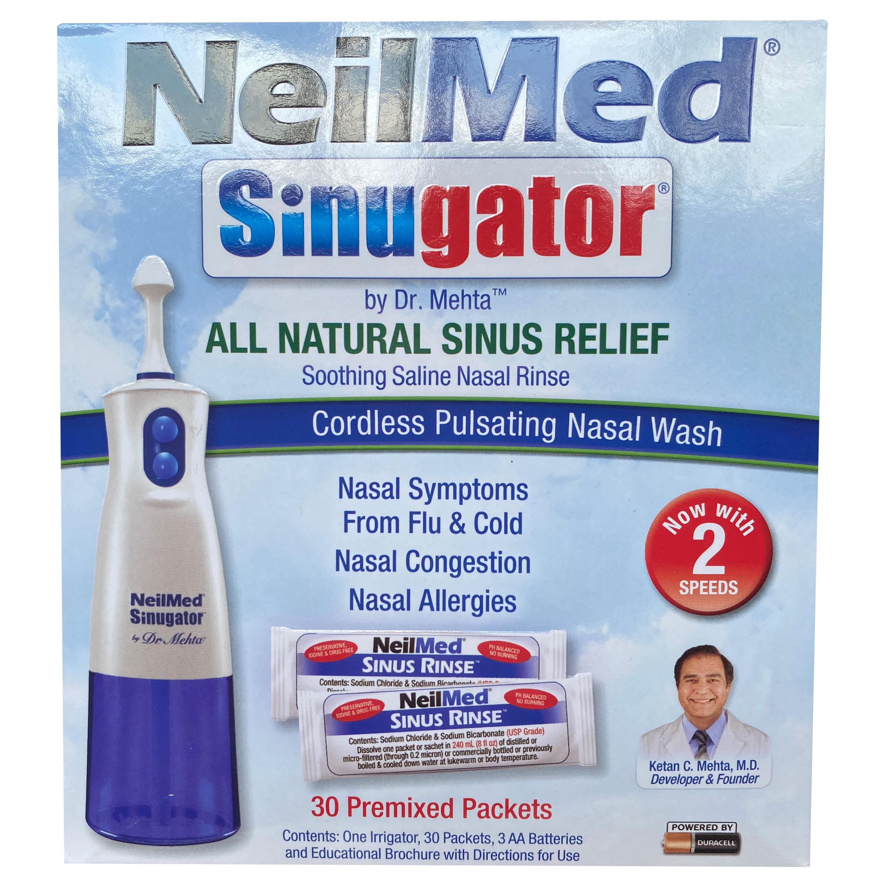 Máy xịt rửa mũi NeilMed Sinugator 2 tốc độ (2019) kèm 30 gói muối