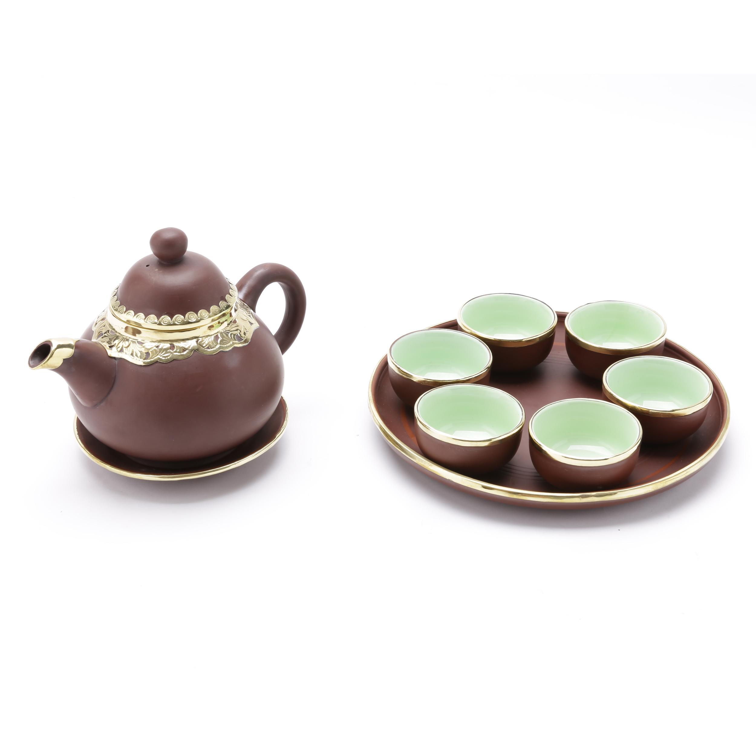 Bộ bình trà lê khay tròn Bát Tràng Tử Sa bọc đồng MNV-TS400