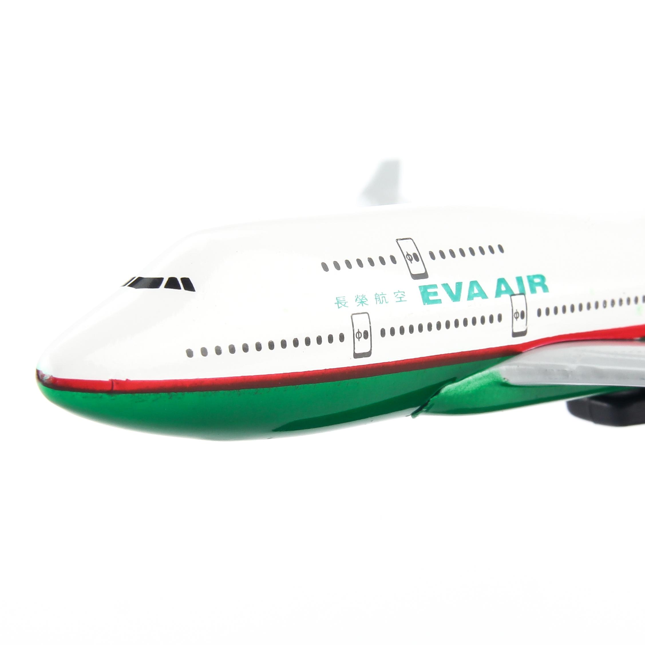 Mô hình máy bay Eva Air (16cm) - Trắng, Xanh lá cây