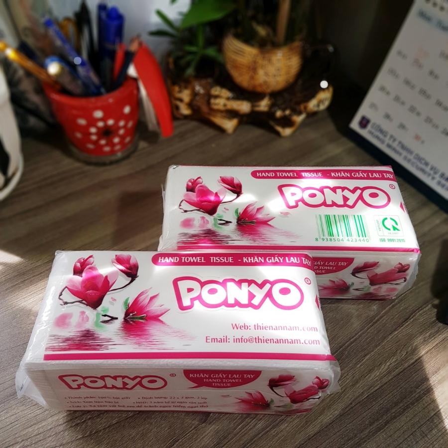 Cây (20 gói) khăn giấy rút lau tay 2 lớp PONYO (100 Tờ/ gói)