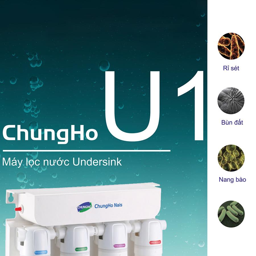 Máy Lọc Nước Không Điện Lắp Dưới Tủ Bếp ChungHo U1 - 4 bước lọc UF - Model UF1 - Hàng nhập khẩu