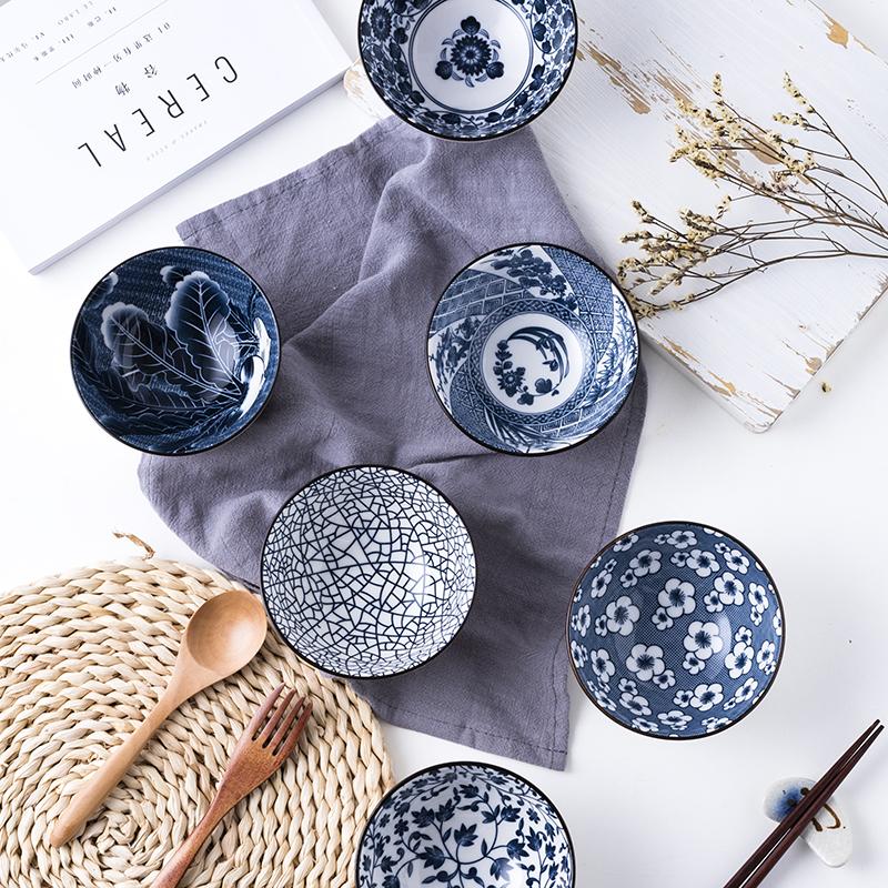 Bộ 6 chén (bát) cơm sứ phong cách Nhật Bản hoa văn sắc xưa giả cổ