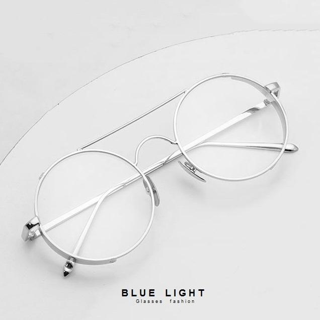 Kính Giả Cận, Gọng Kính Cận Nam Nữ Không Độ Mắt Tròn Xoe Thiết Kế Viền Dày Bạc - BLUE LIGHT SHOP