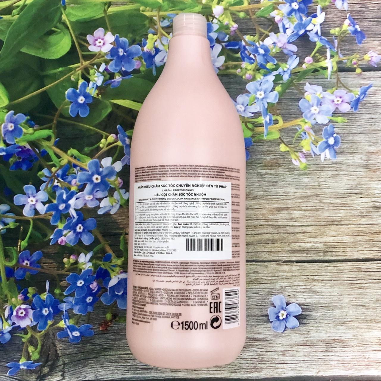 Dầu gội giữ màu tóc nhuộm L'oreal Serie Expert A-OX Vitamino color radiance shampoo 1500ml - Chính hãng