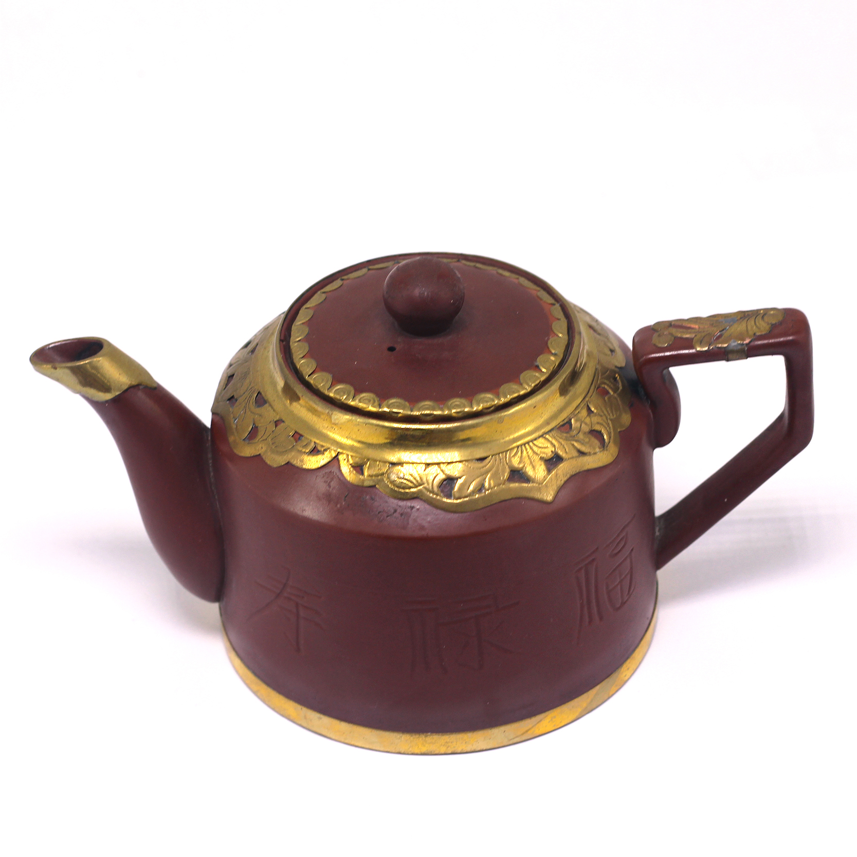 Bộ bình trà phúc lộc thọ thủng Bát Tràng Tử Sa bọc đồng tích thùng MNV-TS408