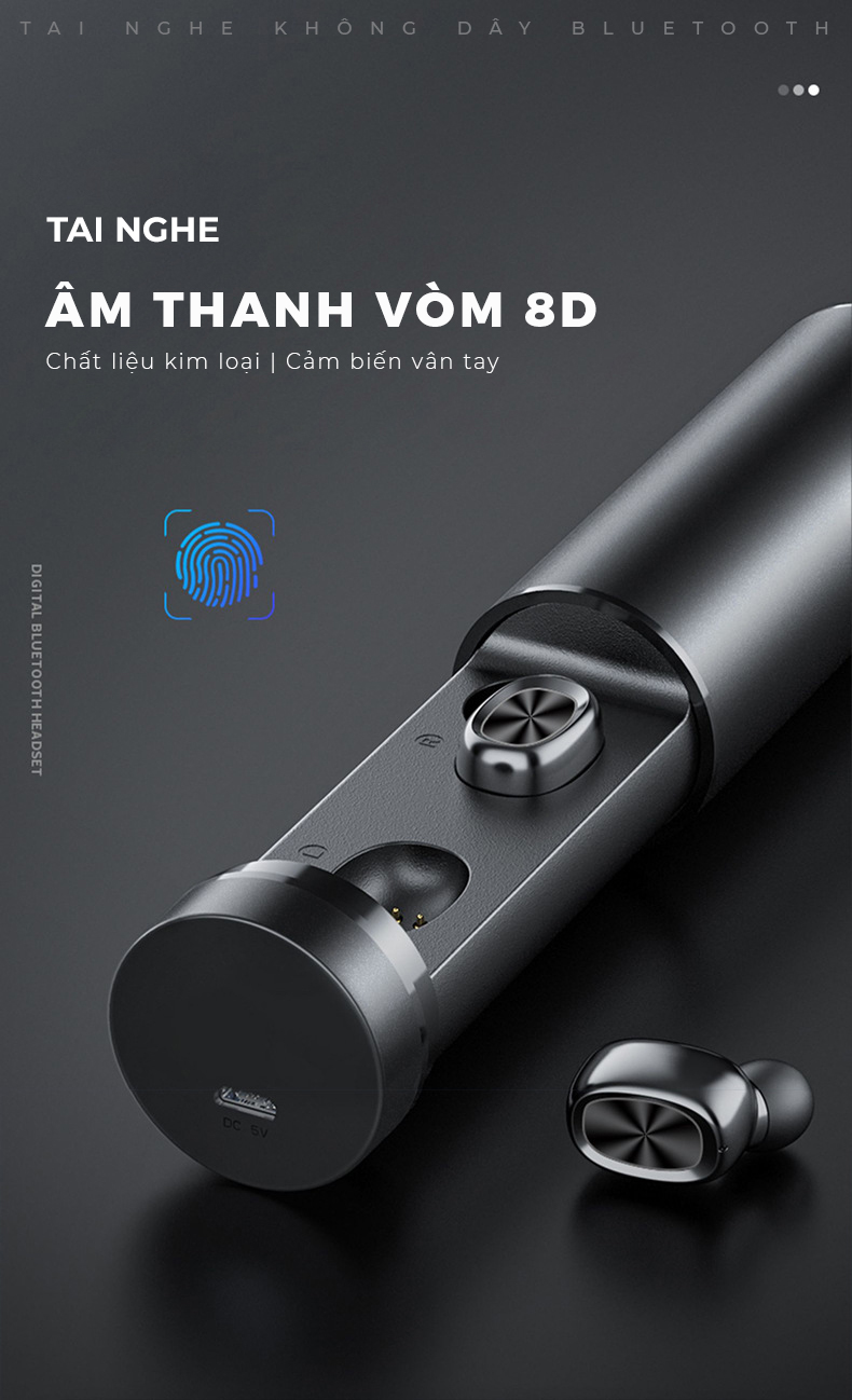 Tai nghe Bluetooth 5.0 TWS cảm ứng chạm nhẹ thông minh, âm thanh thanh vòm 8D   Hàng nhập khẩu