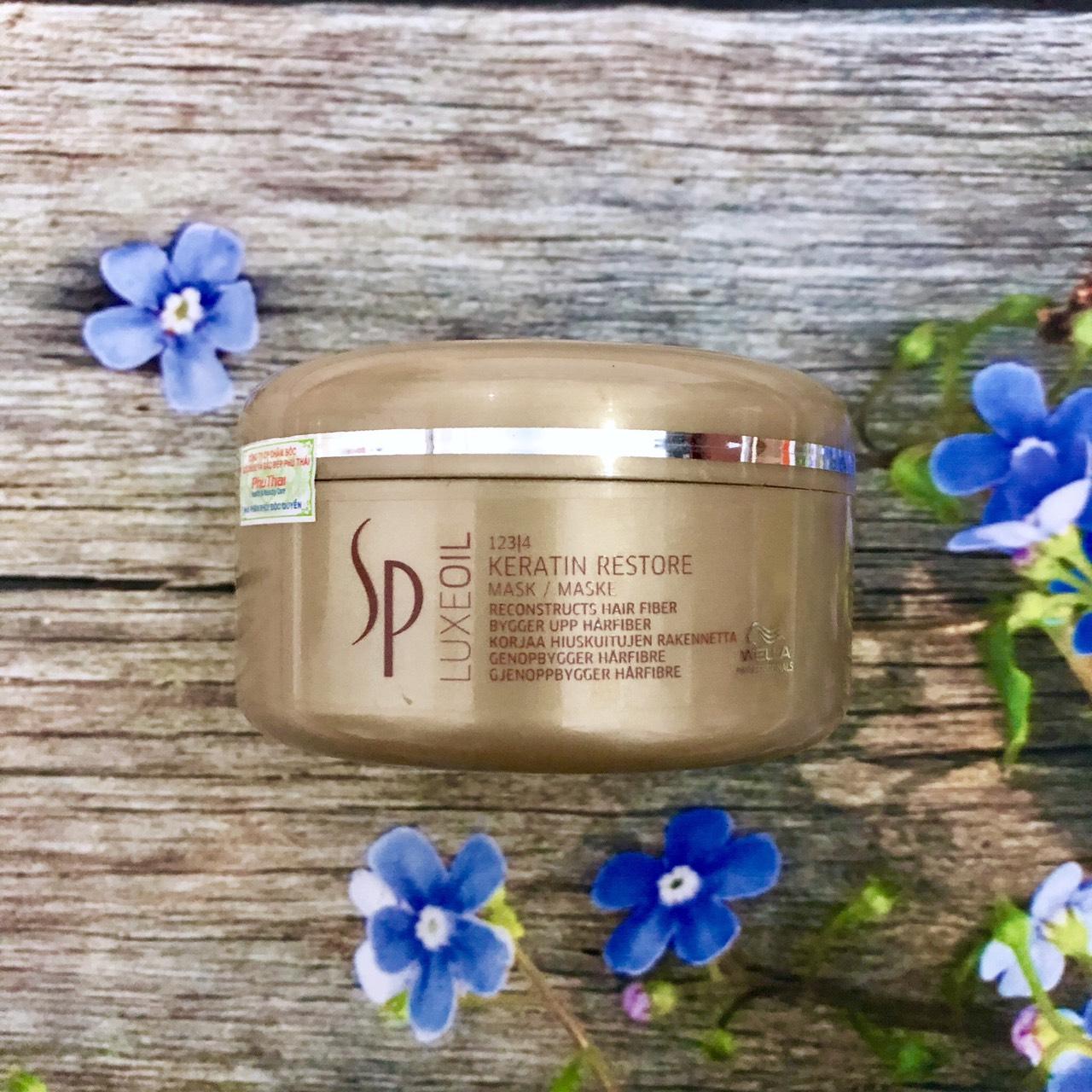Mặt nạ ủ Wella SP Keratin Luxe Oil hair mask 150ml phục hồi tóc hư tổn cao cấp chính hãng Đức