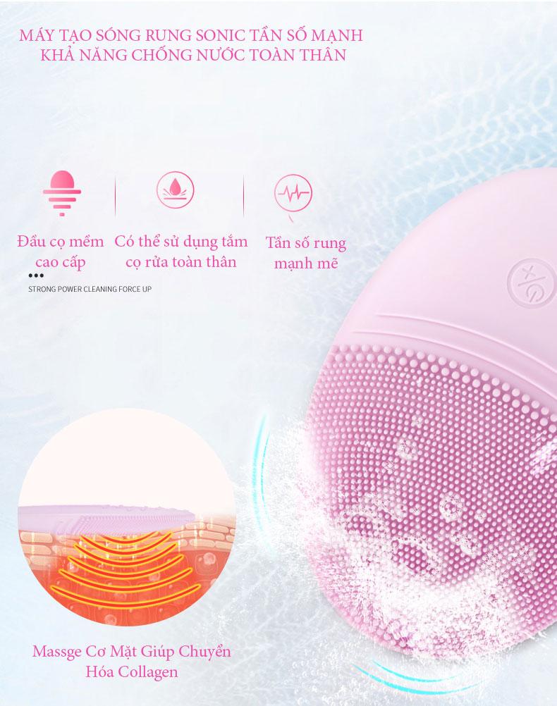 Máy Rửa Mặt Tẩy Trang Làm Sạch Sâu, Massge Tăng Cường Chuyển Hóa Collagen Giúp Giúp Trẻ Hóa Da - Cao Cấp Chính Hãng
