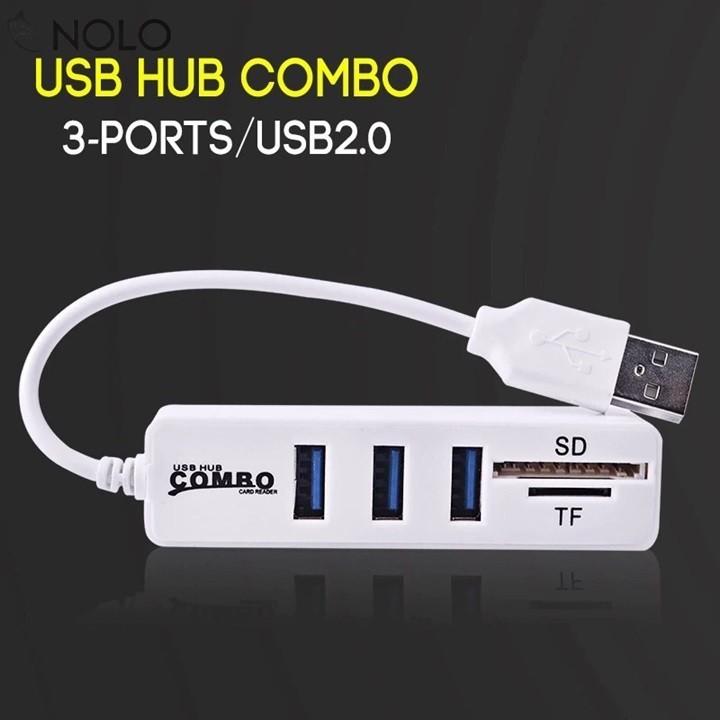 Hub Chia USB 3 Cổng + 2 Khe Thẻ Nhớ - Màu Ngẫu Nhiên