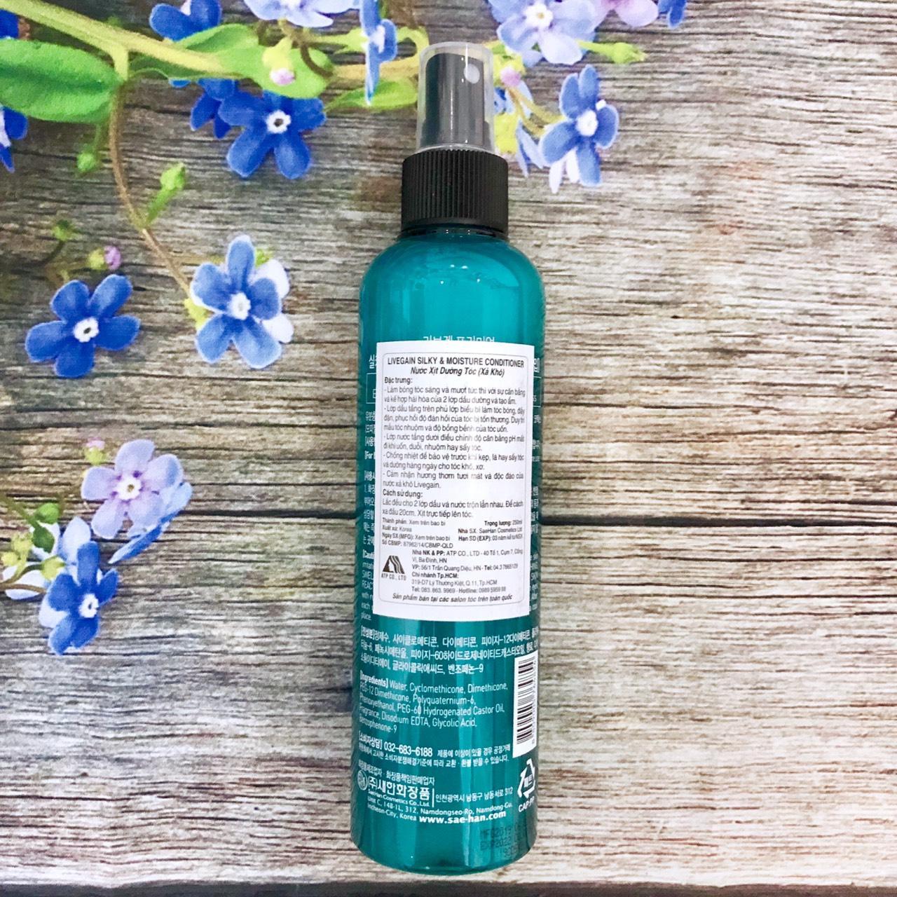 Xịt dưỡng tóc (xả khô) siêu mượt Livegain Premium Silky & Moisture Conditioner 250ml