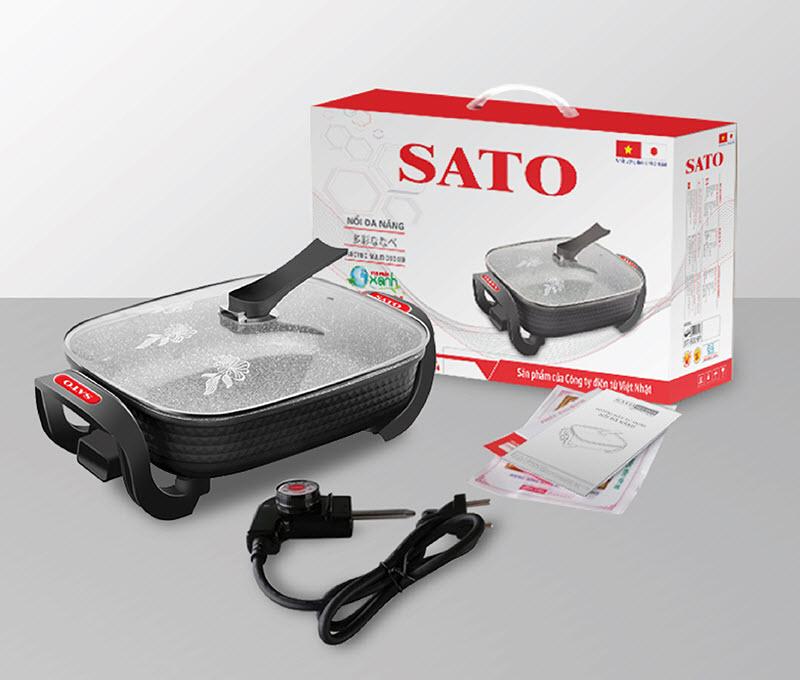 Nồi lẩu điện đa năng SATO ST-502HP  5.0 lít - Hàng chính hãng