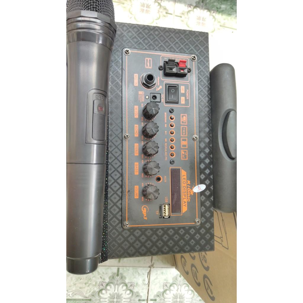 Loa Kéo Karaoke Bluetooth Kiomic Q8 Vân Gỗ Điều Chỉnh Bass, Treble - Hàng Nhập Khẩu