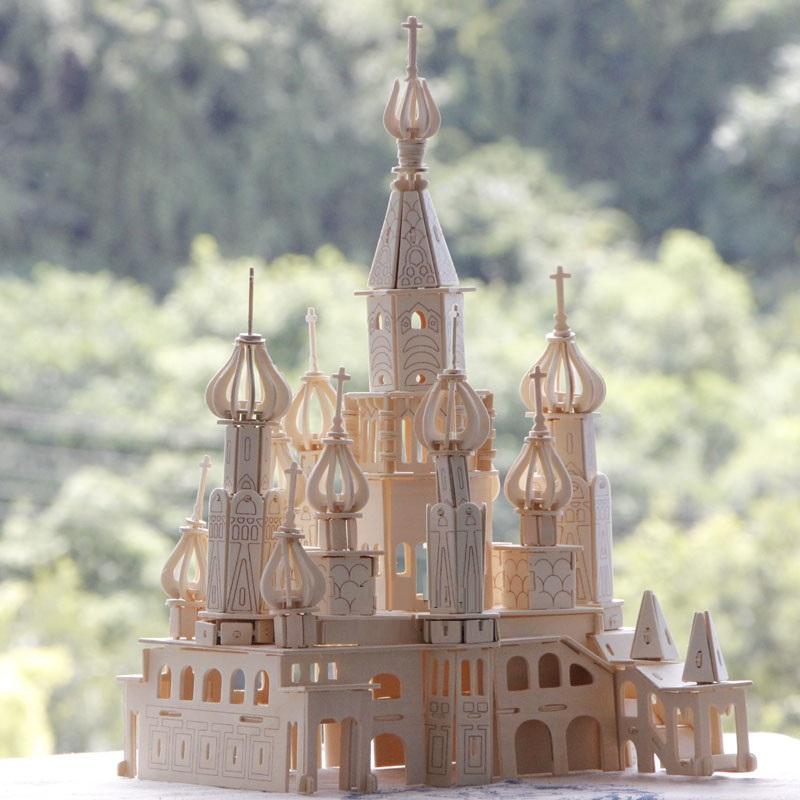 Đồ chơi lắp ráp gỗ 3D Mô hình Lâu đài Saint Petersburg - Tặng kèm đèn LED