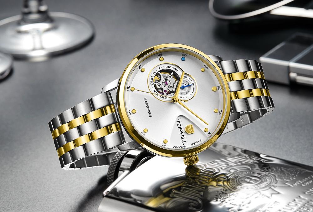 Đồng hồ nam máy cơ tự động chính hãng Thụy Sĩ TOPHILL TW060G.S6658