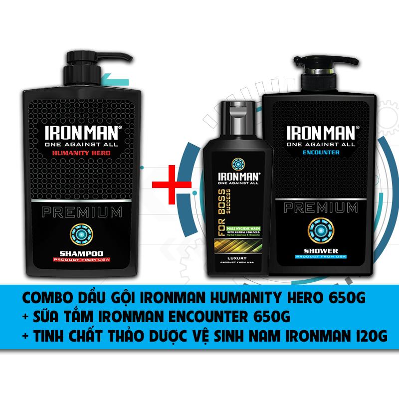 Dầu gội hương nước hoa nam  Ironman Humanity Hero 650g + Sữa tắmthơm lâu  Ironman Encounter 650g + Dung dịch vệ sinh nam tinh chất thảo dược Ironman For Boss120g