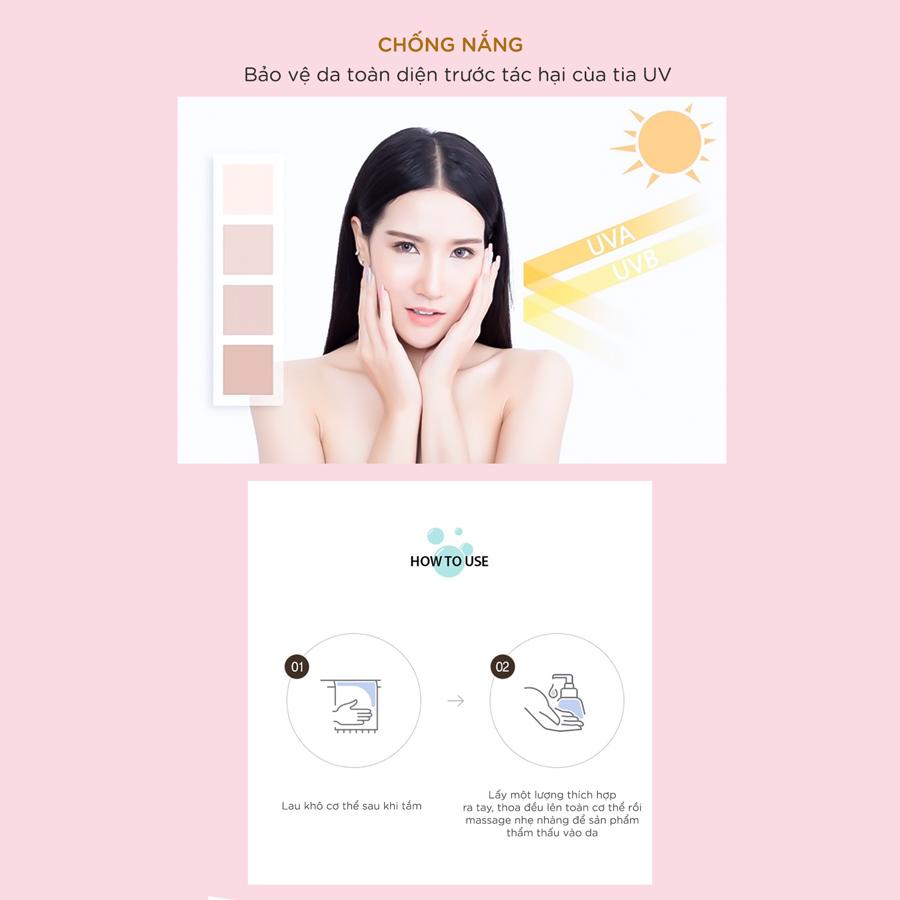 Sữa dưỡng thể cấp ẩm trắng da hương nước hoa Vacci Whitening Lotion - LOTUS(HOA SEN)
