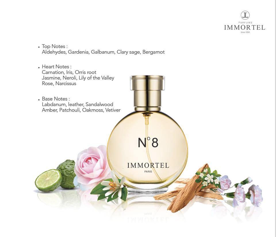 Nước hoa nữ IMMORTEL PARIS No8 Eau De Parfum 60ml- Với hương gỗ sồi , hoa nhài và hoắc hương