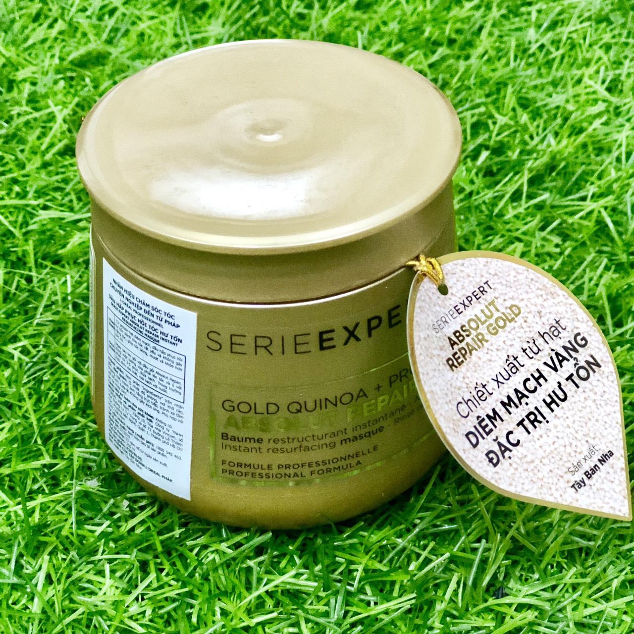 Dầu hấp ủ phục hồi tóc hư tổn L'ORÉAL Serie Expert Gold Quinoa + Protein Absolut Repair Golden Masque - 250ml - (vàng đậm)