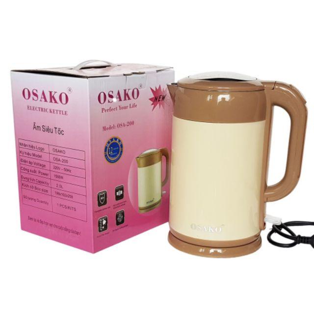 Ấm Siêu Tốc 2L Inox 304 Osako OSA-200 2 Lớp Công Suất 1500W Đun Sôi Cực Nhanh Tiết Kiệm Điện (Giao Màu Ngẫu Nhiên)-Hàng Chính Hãng