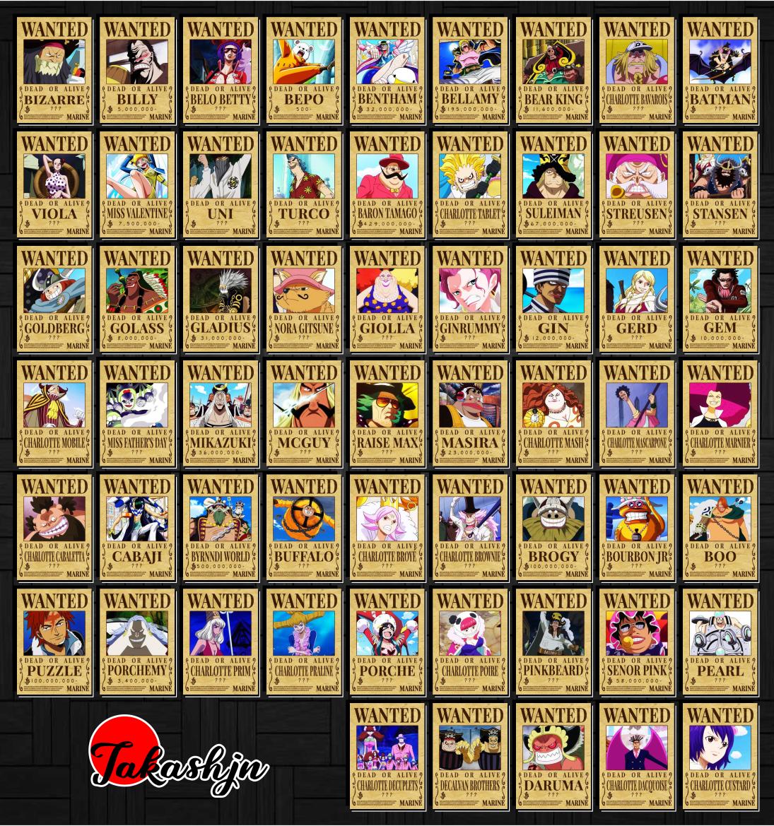 Combo 20 Tờ truy nã - Wanted Poster nhân vật One Piece - Khổ trung 20.3cm x 28.7cm