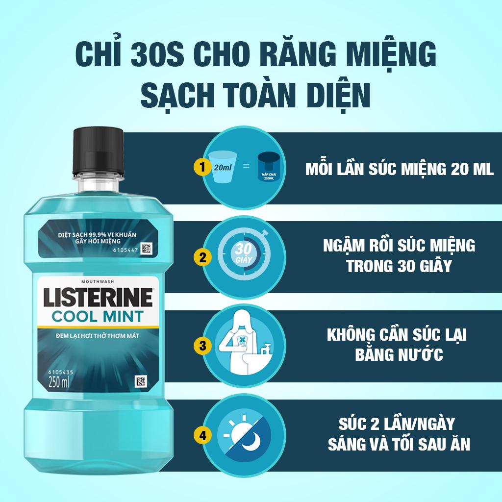 Nước Súc Miệng Hương Bạc Hà Listerine Cool Mint (250ml) - 8850007813040