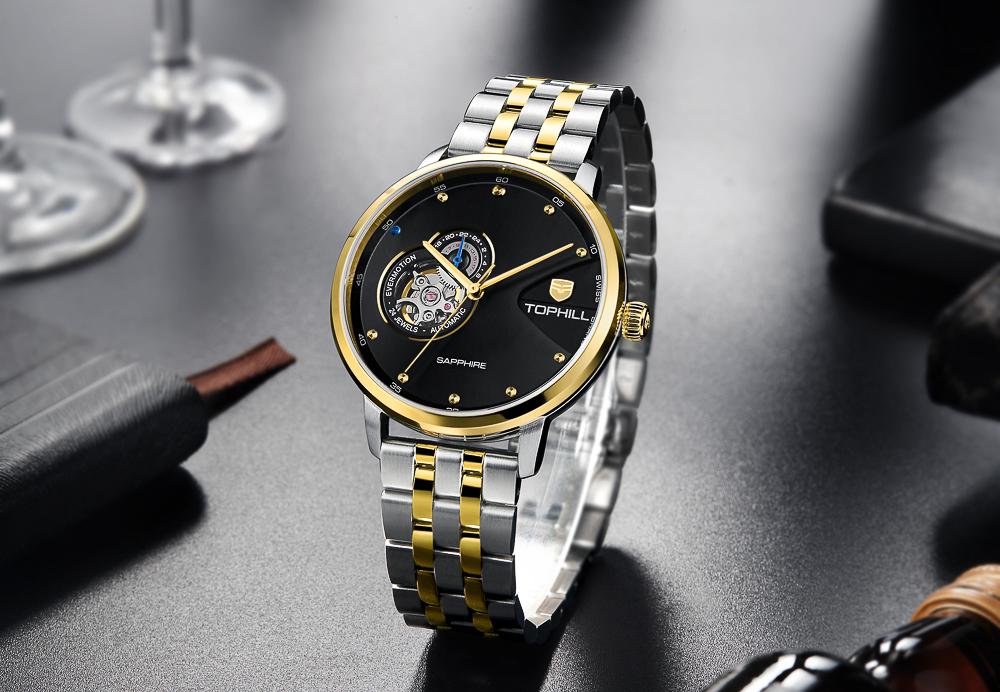 Đồng hồ nam máy cơ tự động chính hãng Thụy Sĩ TOPHILL TW060G.S6158