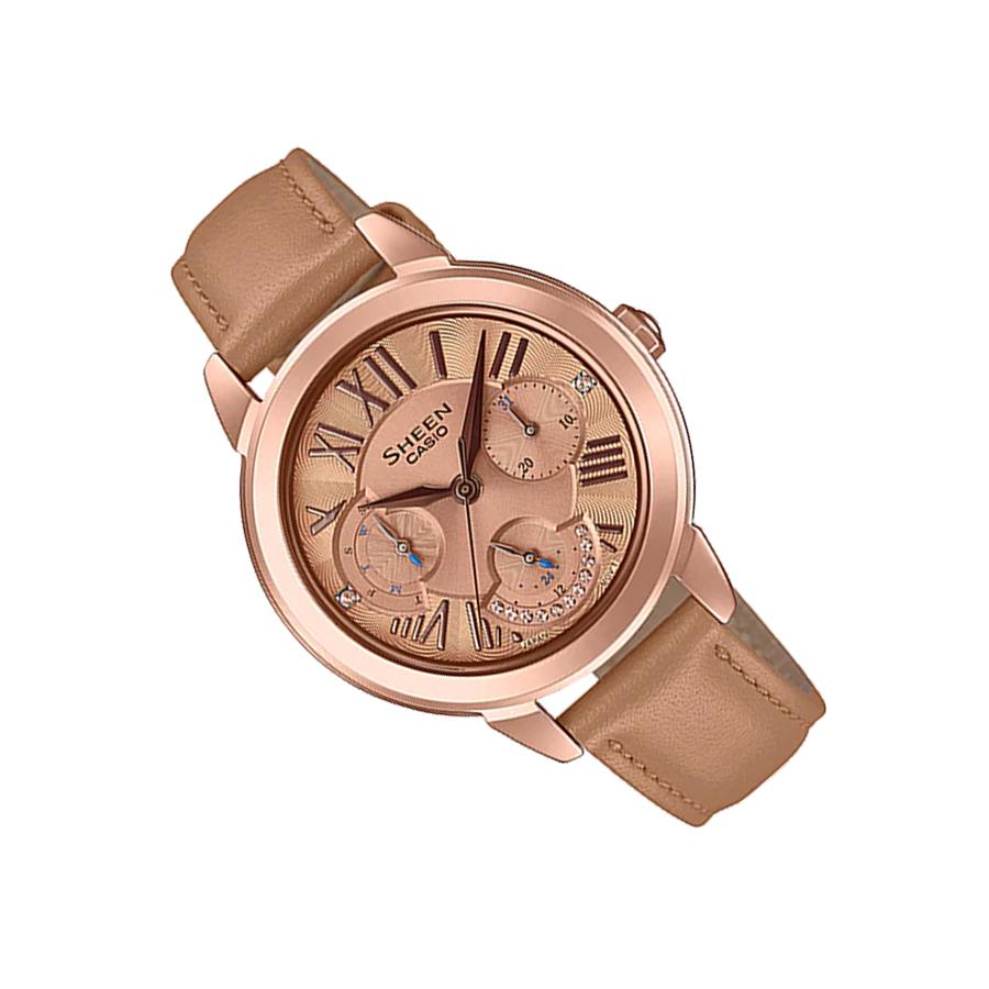 Đồng hồ nữ dây da Casio Sheen chính hãng SHE-3059PGL-5AUDR