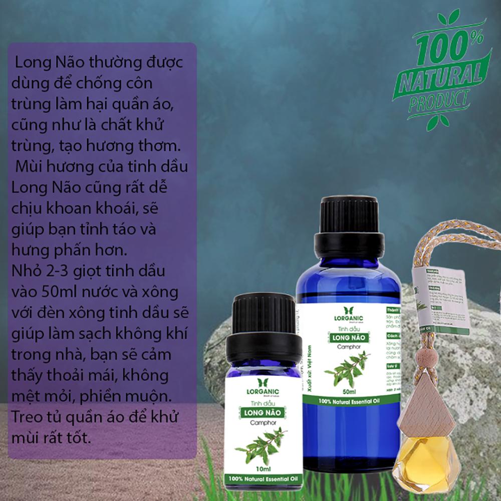Tinh dầu long não Lorganic Camphor 10ml/ Hương thơm dịu nhẹ/ Tinh dầu thiên nhiên nguyên chất xông phòng, thư giãn tinh thần, đuổi muỗi và côn trùng, khử mùi hiệu quả/ Thích hợp dùng với đèn xông và máy khuếch tán.