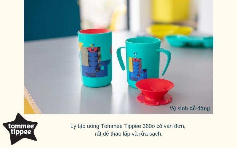 Ly tập uống nước chống đổ cho bé Tommee Tippee 360 Deco Trainer 200ml từ 6 tháng - Xanh cổ vịt