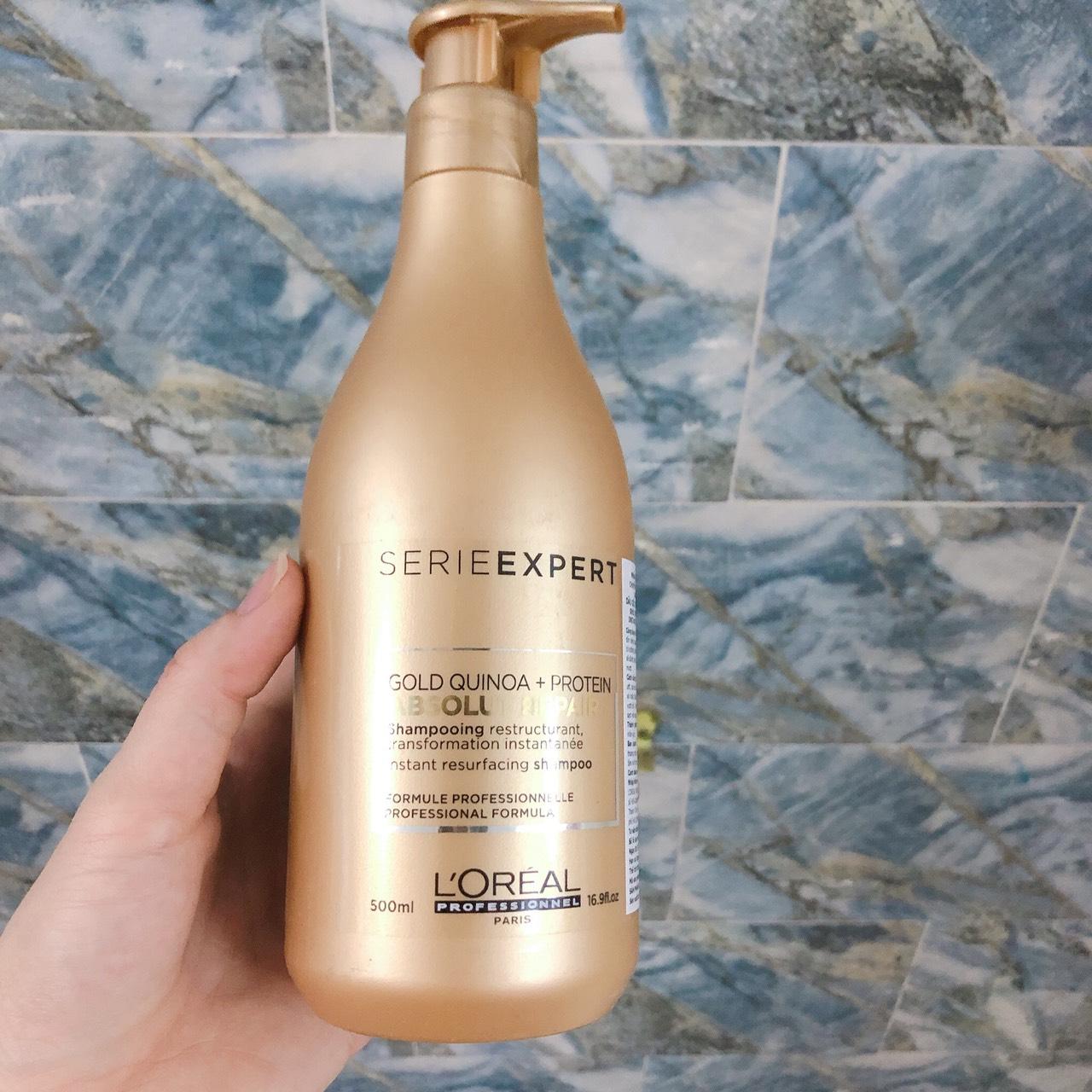 Dầu gội cho tóc hư tổn L'ORÉAL Serie Expert Gold Quinoa + Protein Absolut Repair Instant resurfacing shampoo 500ml - Chính hãng