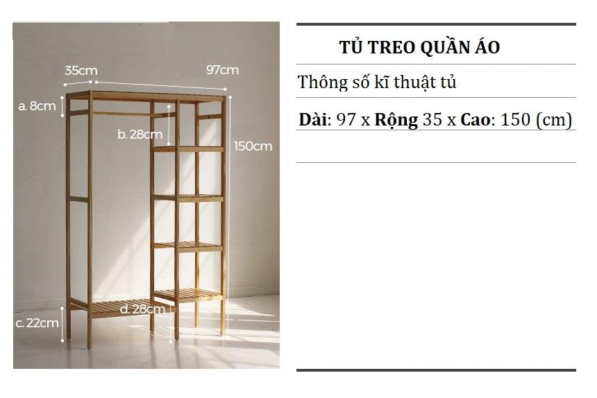 TỦ TREO QUẦN ÁO ĐÔI 5 TẦNG GỖ THÔNG 97x150 cm