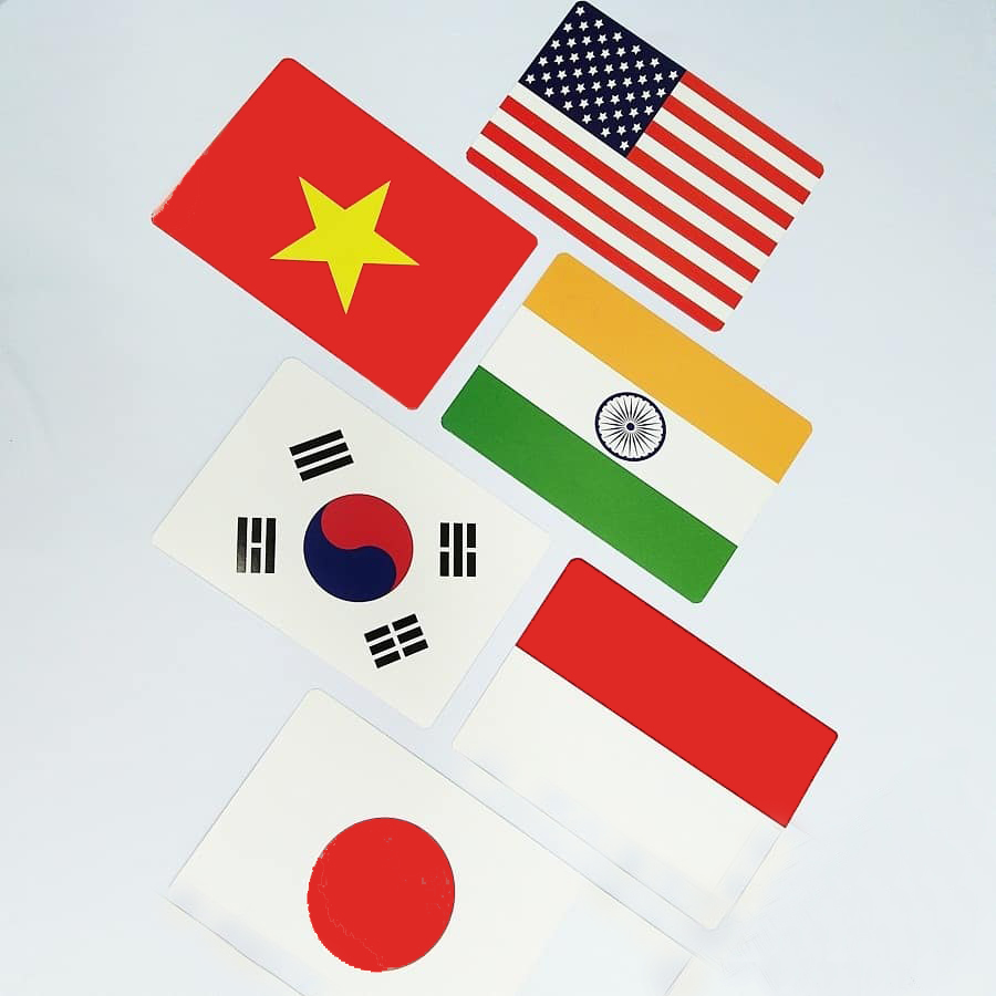 Hàng độc - Cờ các nước nổi tiếng trên thế giới có bản đồ vị trí địa lý Flashcard Glenn Doman - Flashcard Phan Liên