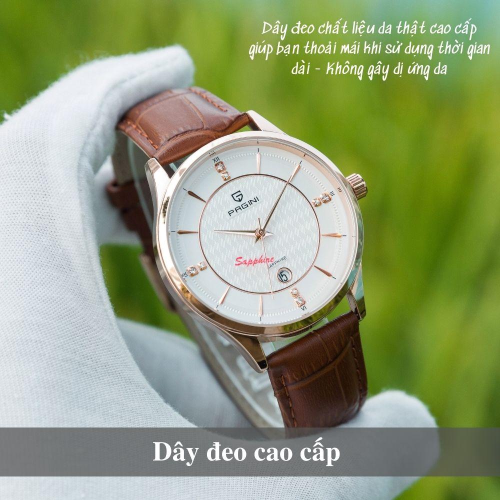 Đồng hồ nam PAGINI cao cấp dây da thật mặt tròn – Mặt kính chống xước - PA16688