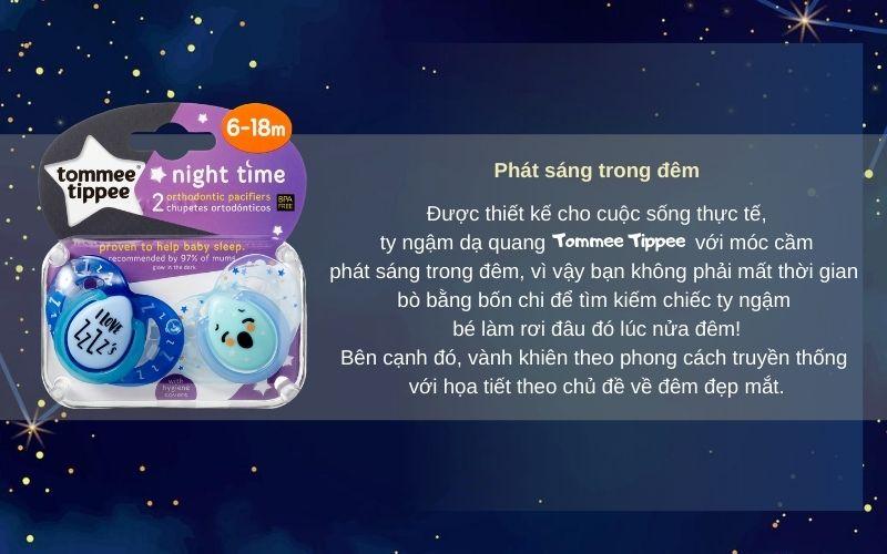 Ty ngậm dạ quang cho bé Tommee Tippee Night Time 6-18 tháng (vỉ 2 cái) - Xanh