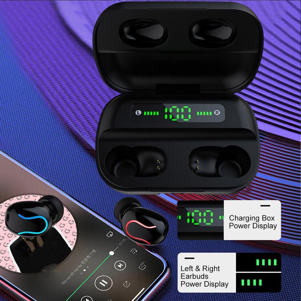 Tai Nghe Bluetooth True Wireless HBQ Q82 LED Stereo V5.0 + EDR - Hàng Chính Hãng
