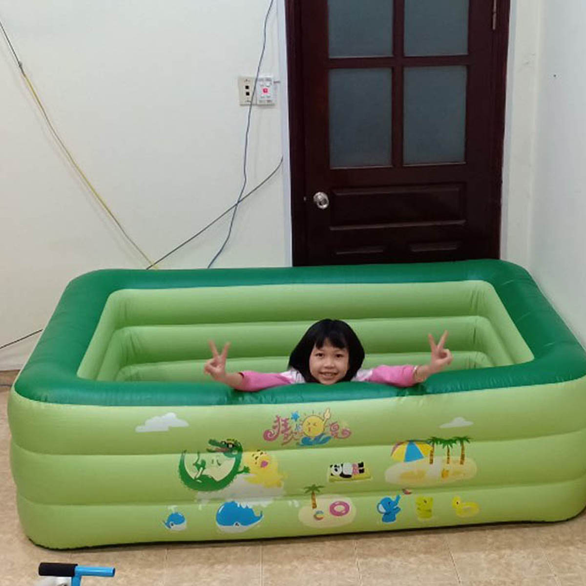 Bể bơi phao gia đình chính hãng Summer Baby KT 210*145*65CM (tặng kèm bơm điện)