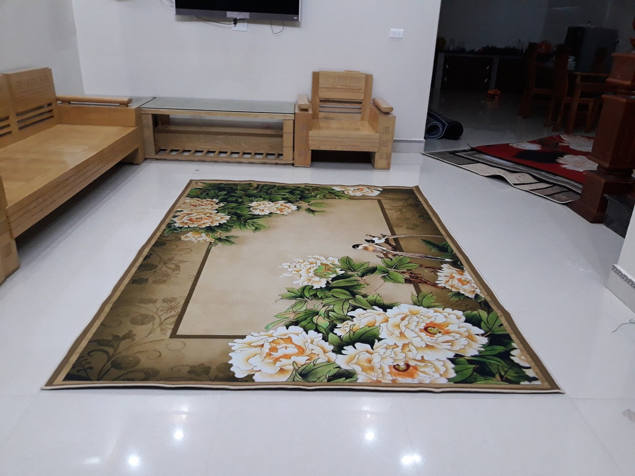 Thảm lì trang trí phòng khách mẫu 04 - Hoa mẫu đơn trắng  1,6x2,3m