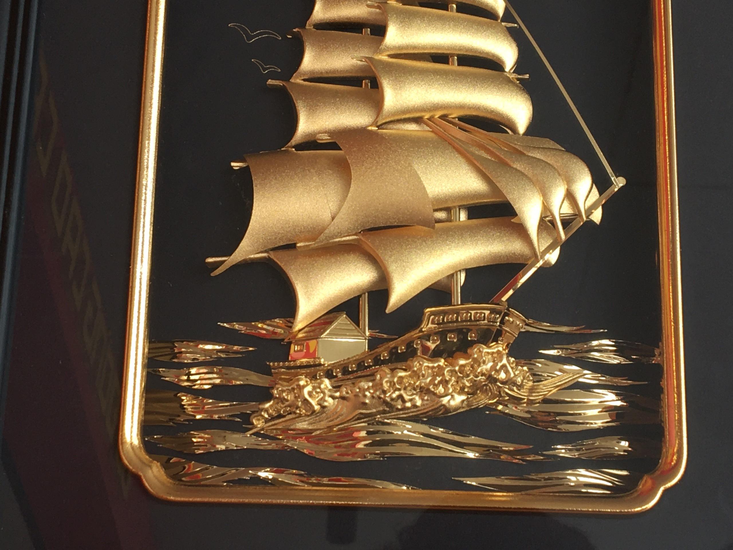Tranh Thuyền Thuận Buồm Xuôi Gió Dát Vàng 24K
