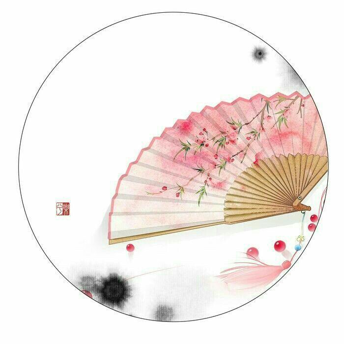 Quạt cổ trang dây tuyến nền xanh hoa trắng quạt trúc xếp cầm tay phong cách Trung Quốc in hoa trang trí