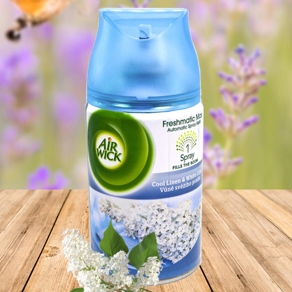 Bình xịt tinh dầu thiên nhiên Air Wick Cool Linen & White Lilac 250ml QT016834 - hoa tử đinh hương
