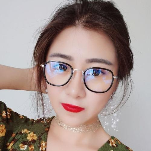 Gọng Kính Cận Nam Nữ, Kính Giả Cận Không Độ, Mắt Vuông Gọng Bạc Viền Đen Hàn Quốc
