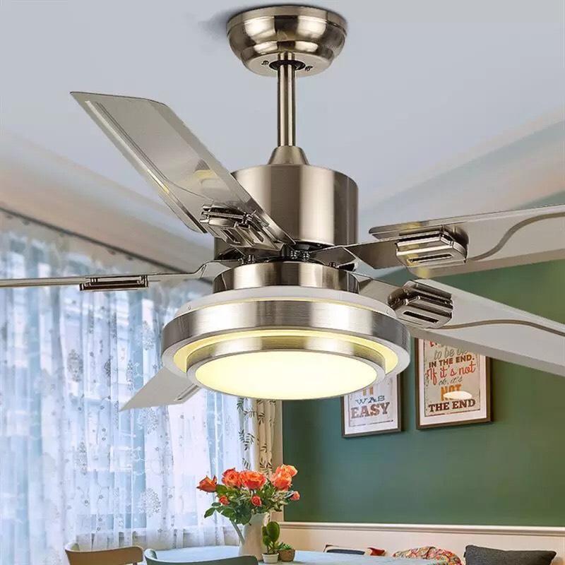Quạt trần đèn QTK80 - Điều khiển từ xa - Đèn Led 3 màu