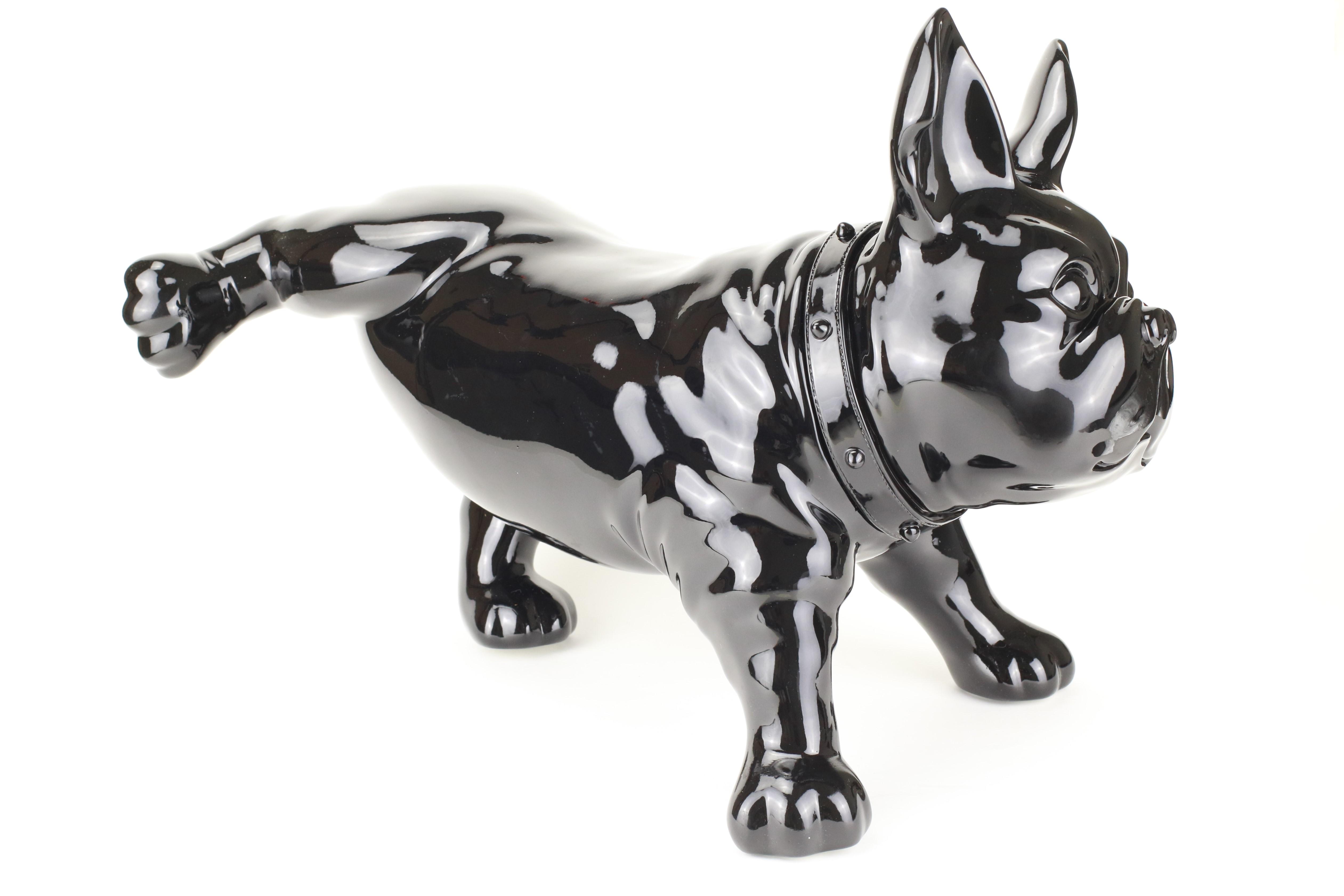 Chú chó nhựa Bulldog đen trang trí