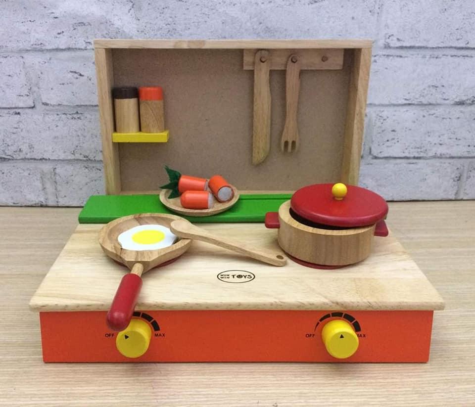 Combo bộ đồ chơi nhà bếp 3 món Kids smile- Cắt trái cây 8 trái kèm dao thớt và nạo- cắt cá- bếp nấu ăn kèm nồi chảo, lọ gia vị - đồ chơi gỗ