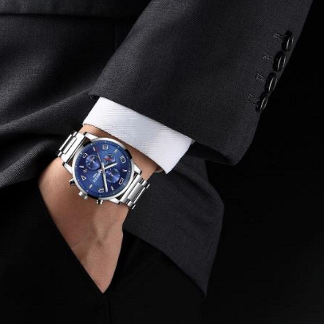 Đồng hồ thời trang công sở nam NIBOSI chính hãng NI2328.03 (Phụ kiện thời trang) fullbox, chống nước - chạy full 6 kim, mặt kính Mineral, dây hợp kim cao cấp không gỉ