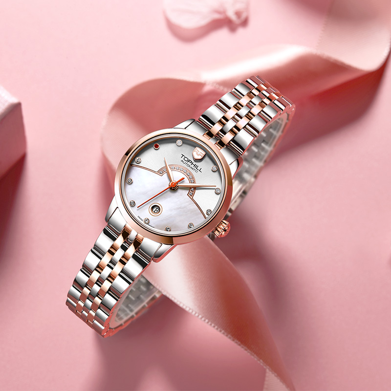Đồng hồ nữ máy cơ tự động mặt xà cừ chính hãng Thụy Sĩ TOPHILL TE039L.S7238
