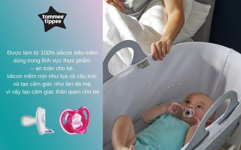 Ty ngậm silicon siêu nhẹ cho bé Tommee Tippee 18-36 tháng (vỉ 2 cái) - Hồng/Trắng