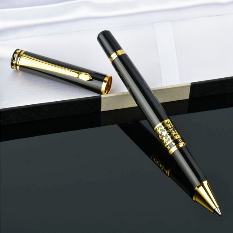 Bút kim loại khắc hoa văn mạ vàng GB02