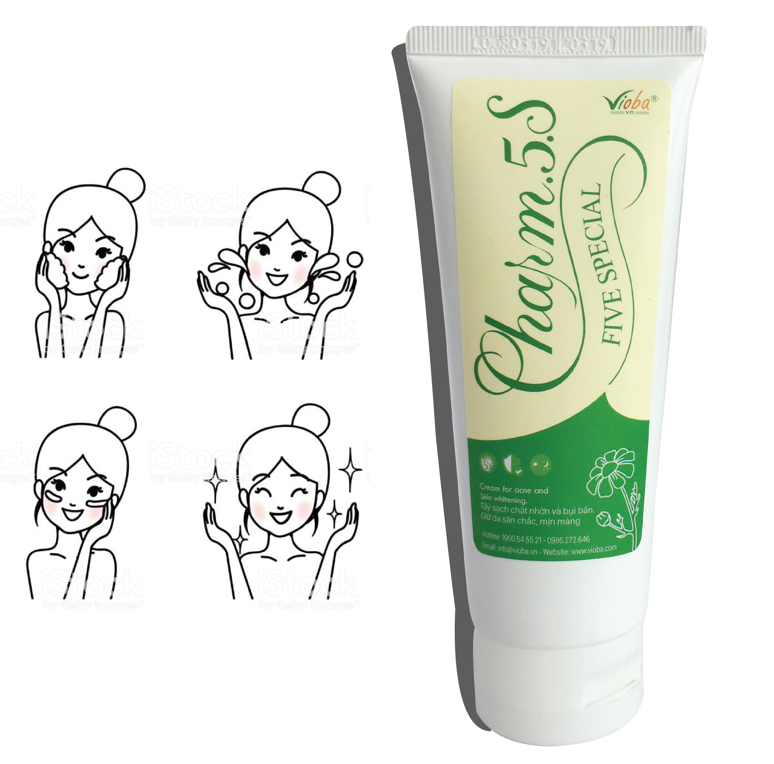 Sữa rửa mặt Charm.5.S - Làm sạch da, dưỡng ẩm, se lỗ chân lông, mờ vết thâm do mụn. Giúp da mềm mại, mịn màng trắng sáng. Tuýp 70g.
