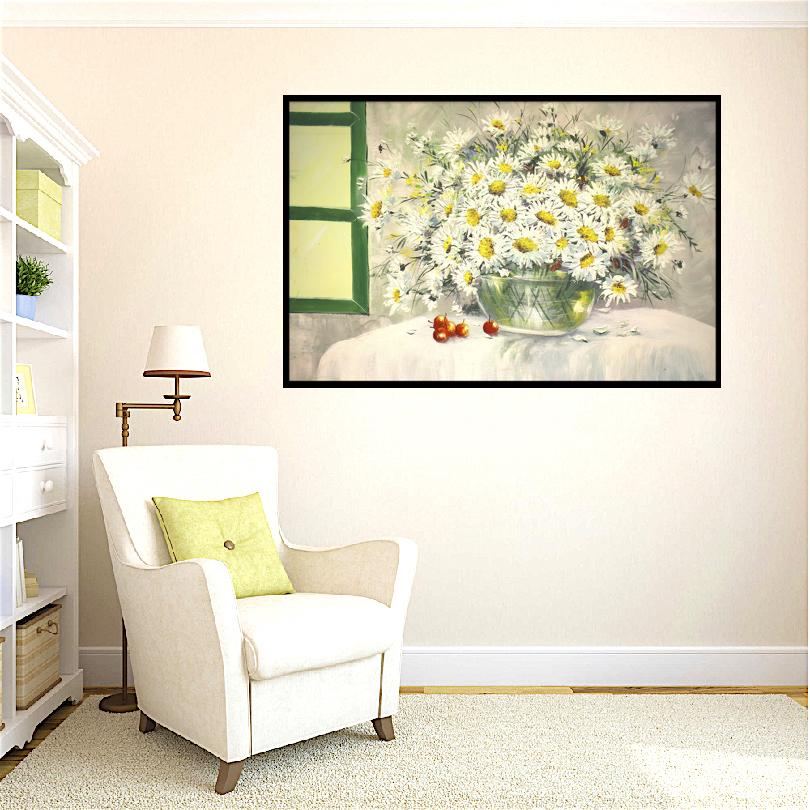 Tranh sơn dầu vẽ tay trên vải toan (canvas), tranh vẽ, tranh canvas, tranh hoa, tranh chất lượng cao: VPVTV0016